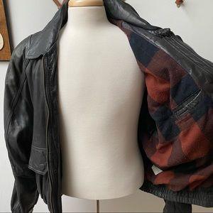 Vintage Plaid Flannel Lined Leather Bomber